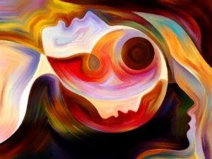painting of human head depicting mental illness