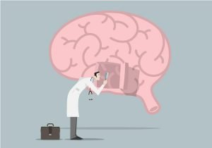 cartoon of doctor with brain