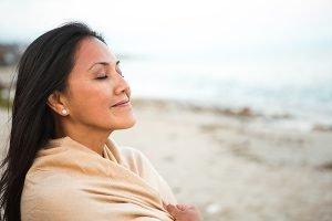 caregiver taking a deep breath